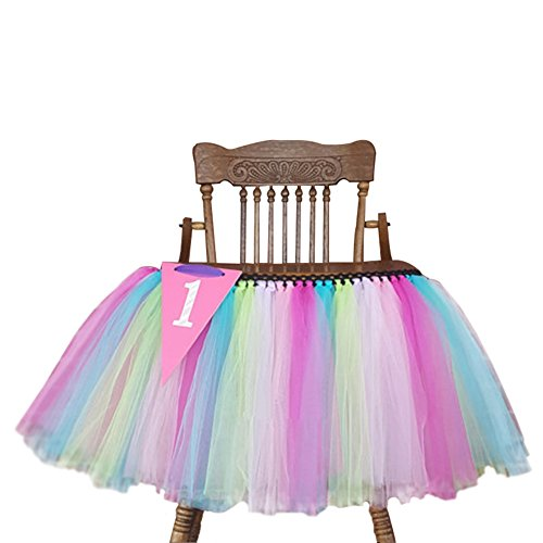 Creation Core Romantic 27.6×13.8 Baby's 1st Birthday Party High Chair Tutu Skirt Party Supply Centerpiece(Colorful)