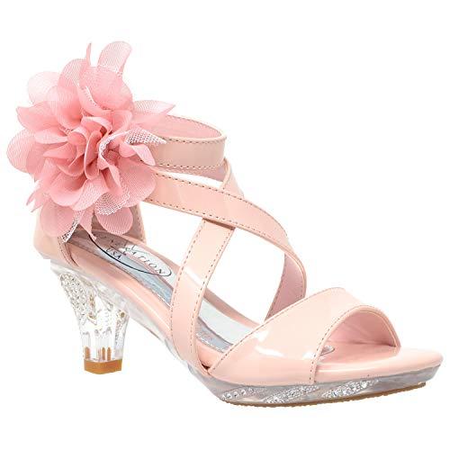 Generation Y Kids Dress Sandals Girls Clear Rhinestone Low Heel Side Flower Back Zipper Pink Clear SZ 13