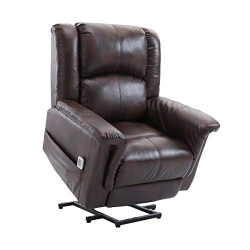 Esright Power Lift Chair Electric Recliner Wall Hugger PU Leather Heated Vibration with...