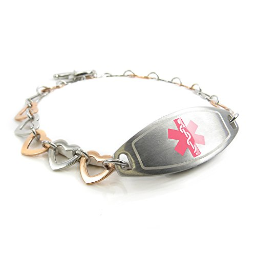 MyIDDr - Pre-Engraved & Customized Pacemaker Ladies Medical Bracelet, Steel & Rose Hearts, Pink