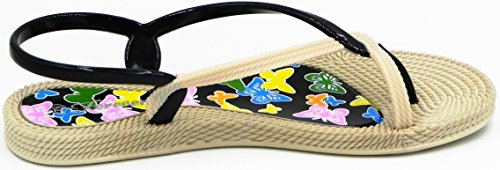 Womens New Fashion Twisted Accent Jelly Teenring Sling Back Sandaal Schoenen Zwart