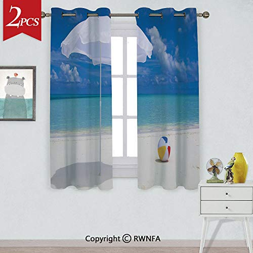 RWNFA with Grommet Curtain Summer Season Vibes Seashore Ocean View Sunny Ball Waves Sands Artwork Window Curtains,2 Panels,Each Panel Size is,W42xL84 Inch,Blue Aqua Cream White