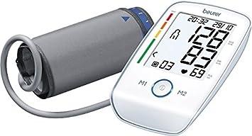 Beurer BM45 - Tensiómetro de brazo, indicador OMS, memoria 2 x 60 mediciones, color blanco