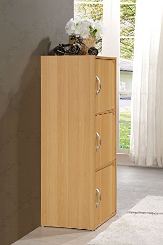 Hodedah 3 Door, Three Shleves, Enclosed Storage Cabinet, Beech by HODEDAH IMPORT (Image #3)