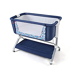 0-24 Months Baby Side Sleeping Crib Easy to Assemble 97 X 50.7 X 82cm 5 Gear Height Adjustable Gray Blue (Color : Blue)