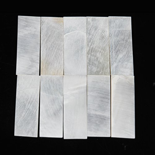 (10pcs Inlay Material White MOP Mother Of Pearl Shell Blanks Sheet Rectangle 1mm )