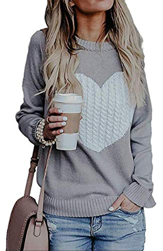 (Women Casual Long Sleeve Crew Neck Heart Printed Knit Sweater Tops Grey L)
