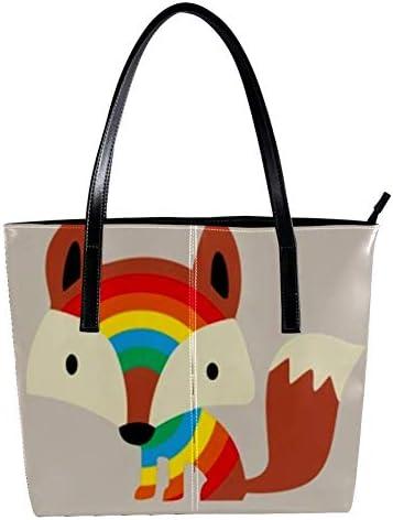 Doodle Fox Womens Handbags soft leather handle bag Handle Satchel Bag for Work Travel Large Messenger Bag