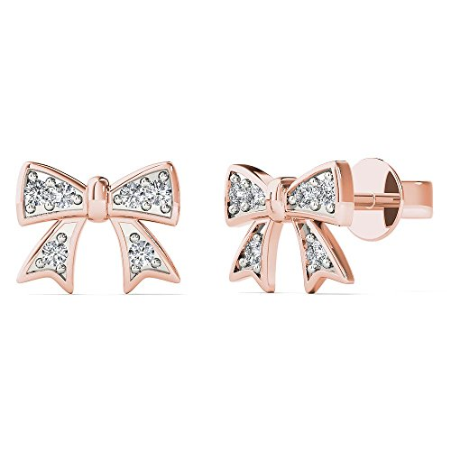 JewelAngel Women's 10K Rose Gold Diamond Accent Bow Stud Earrings (H-I, I1-I2) by JewelAngel