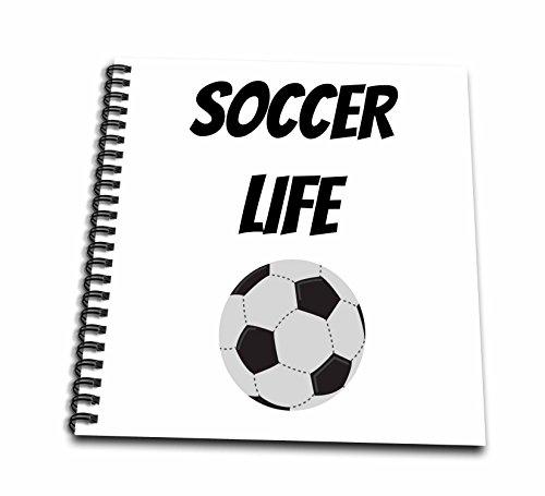 3drose Xanderスポーツ引用符–Soccer Life 画像サッカーボールのwithブラックレタリング–Drawing Book 12x12 memory book db_256502_2