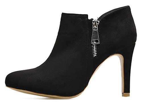 High Boots Aisun Black Zip Pointed Fashion Dressy Toe Suede Heel Up Stiletto Ankle Womens Booties Faux PPx6nfF4