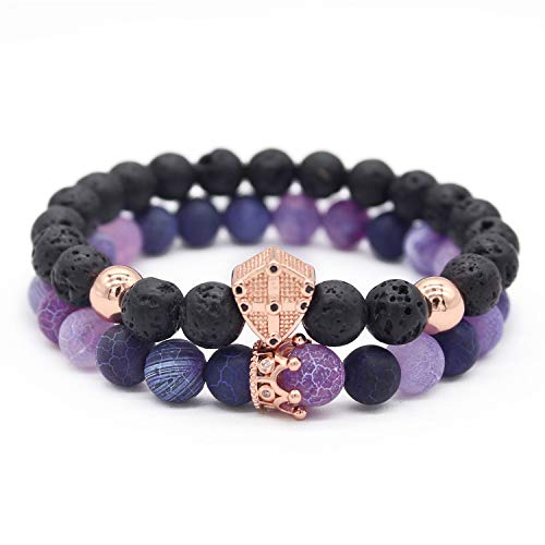 Gemfeel 8mm Natural Purple Weathering Stone & Lava Rock Stone Cz Cross Shield/Crown Couple Bracelet Set,7.5