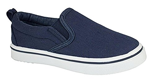 EpicStep Little Boys & Girls Big Boys & Girls Kids Tie up Slip On Canvas Sneakers For Children- Childrens Canvas Sneaker Slip On With Laces Boys Shoes Kids Shoes- (8 Toddlers, Navy Slip On)