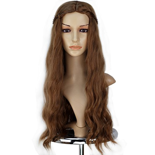 Miss U Hair Girl Female Synthetic Prestyled Long Wavy Brown Wig with Braid Cosplay Full Wig C136-A01