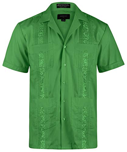 Ward St Men's Short Sleeve Cuban Guayabera, 4XL, 20-20.5N, Green (Mens Front Button Shirt)