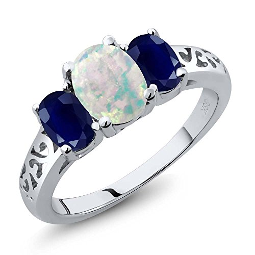 2.15 Ct Oval White Simulated Opal Blue Sapphire 925 Sterling Silver 3 Stone Ring (Ring Sapphire Trellis)