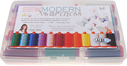 aurifil ay12sma12 12 WT Kit Angela yosten Carretes de hilo de coser conciencia moderna Collection 12 Large