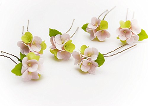 003 HANDMADE Pink hydrangea flowers Hair Pins (SET 4), Wedding Floral, Pink Hair pins, hair accessories, Bridal headpieces, summer flowers, prom