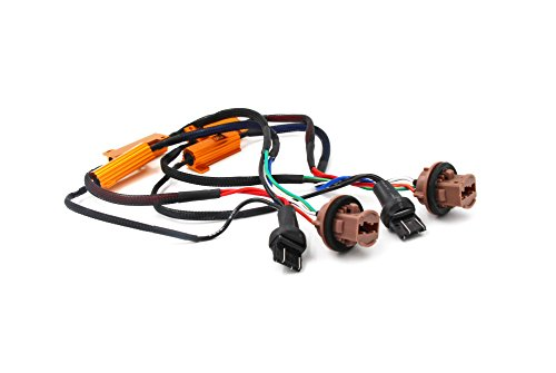 Alla Lighting 7443 7444NA 992 50W 6Ohm Error Free LED Lights Load Resistor Adapter Fix Flashing Fast Blinking Canbus Bypass Wiring Harness for Upgrading LED Turn Signal Blinker Light Lamps
