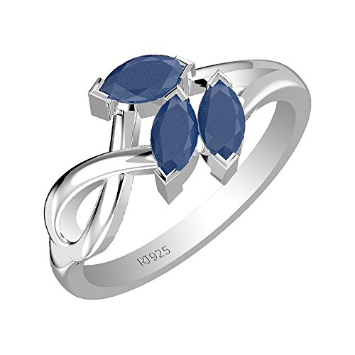 1.05ctw,Genuine Sapphire 3x6mm Marquise & Solid .925 Sterling Silver Ring ()