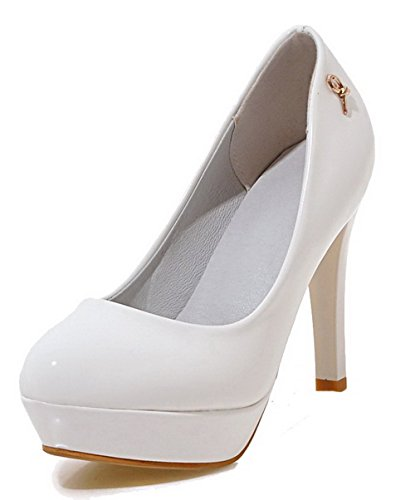 Odomolor Women's Solid PU High-Heels Round-Toe Pull-On Pumps-Shoes, White, 34