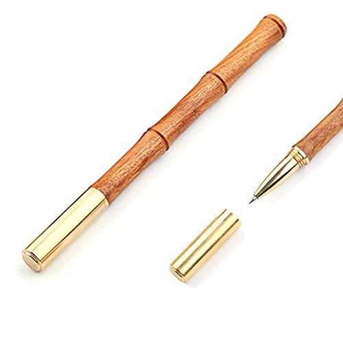 PENBOO Handmade Solid Natural Rosewood Ballpoint Pen For Women, Bamboo Style With Brass Cap Black Ink Including 1 Brass Signature Pen + Extra 12 Refills (Model B04 Brown)