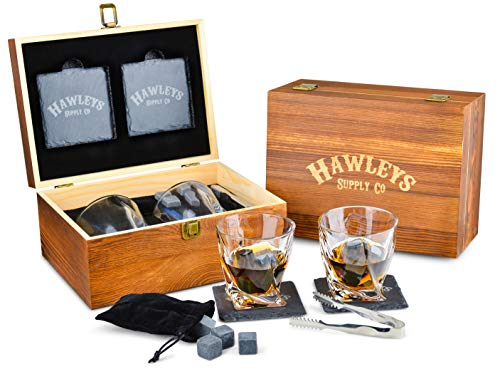 Premium Whiskey Stones Gift Set - 8 Granite Whiskey Rocks, 2 Large Whiskey Glasses, Tongs, Velvet Pouch, and 2 Coasters in an Elegant Handcrafted Wooden Box and Gift Packaging. Perfect Gifts for Men