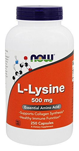 NOW Foods L-lysine 500 mg, 250 Capsules Pack of 2