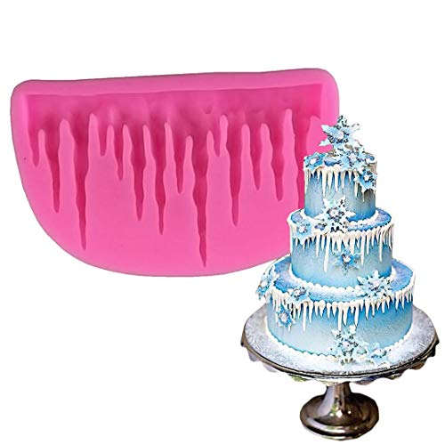 Palksky DIY 3D Icicle Frozen Silicone Mold for Candy Fondant Gum Paste Chocolate Crafts Mousse Cake Baking Biscuit Chocolate Soap Ice Cube Tray Christmas cake decoration Bakeware