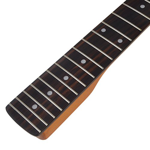 Kmise Electric Guitar Neck For Similar Guitar Replacement Bolt on Dark Yellow Tint Gloss Canada Maple 22 Fret Rosewood - Tint Different