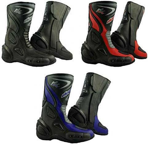 RKsports SHORT LEATHER CRUISER ANKLE MOTORBIKE MOTORCYCLE ANKLE BOOTS LADIES /& MEN
