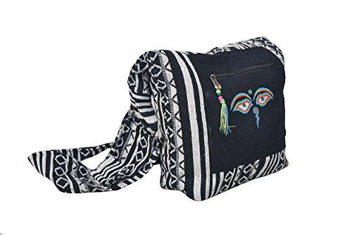Gherri schwarze Schulter Tote Bote Sommer Tasche mit Buddha Augen Stickerei (SDBG-1035PPL) Schwarz