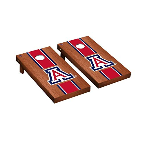 Victory Tailgate Regulation Collegiate NCAA Rosewood Stained Stripe Series Cornhole Board Set - 2 Boards, 8 Bags - Arizona Wildcats (Wildcats Arizona Set)