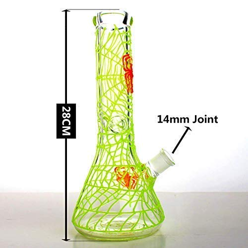 Easy to Grip and with Ice Shelf for Man Women Boys Magic Art Unique Luminous Design 12Inch Dual Water Percolator Glass Big Water Chamber Yellow Light