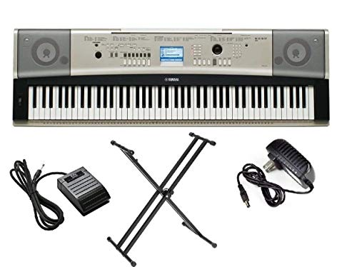 Yamaha YPG-535 Portable Grand Piano Keyboard 88 key + PKBX2 X-Style Keyboard Stand + KSP20 Foot Pedal + AC Adapter + Book Stand (Renewed)