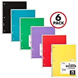 Mead Spiral Notebooks, 1 Subject, College Ruled Paper, 70 Sheets, 10-1/2' x 7-1/2', Assorted Colors, 6 Pack (73065)