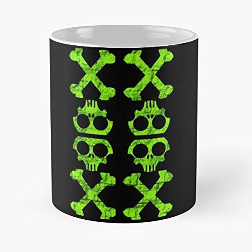 Skull Crossbones Patern Neon - Handmade Funny 11oz Mug Best Birthday Gifts For Men Women Friends Work Great Holidays Day Gift (Neon Skull And Crossbones)