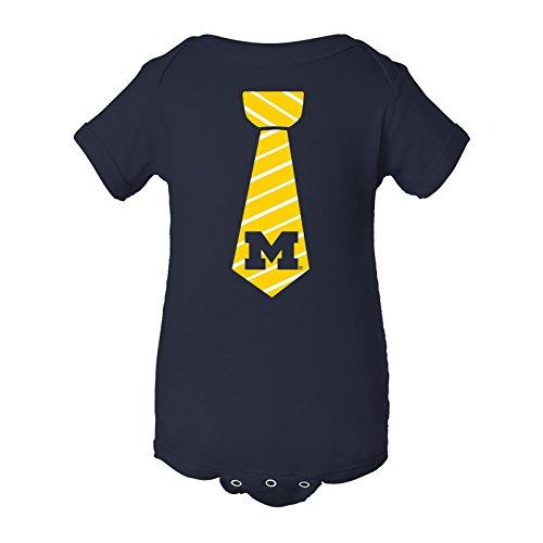 YC24 - Michigan Wolverines Necktie Infant Creeper Bodysuit - 12 Month - Navy