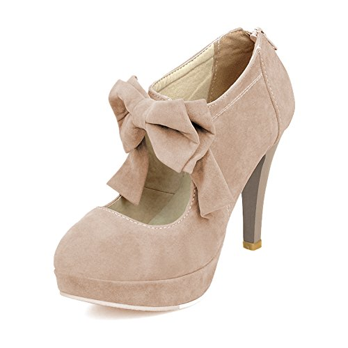 Bow Ankle Boot (Qiangsoo Women Sexy High Heel Pumps Zip up Ankle Boots Khaki 6.5)