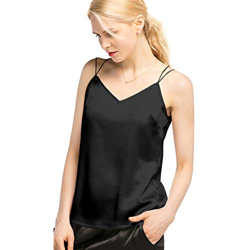 LilySilk Silk Camisole for Women Sexy V Neck Pure 100% Real 19MM Charmeuse Back Criss Cross Tank Tops Black -
