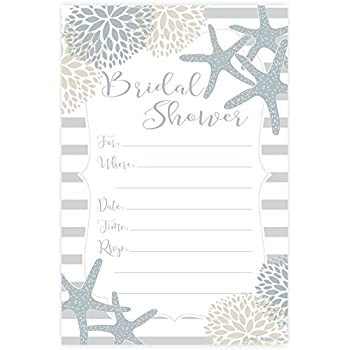 nautical bridal shower invitations fill in style 20 count with envelopes