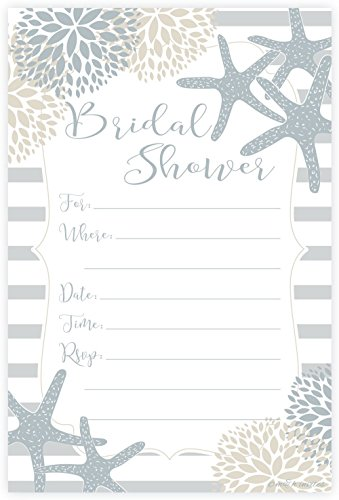 Nautical Bridal Shower Invitations - Fill In Style (20 Count) With Envelopes -