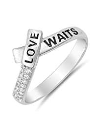 Womens Love Waits Engraved Sterling Silver Promise Ring with Cubic Zirconia Sizes 4-10
