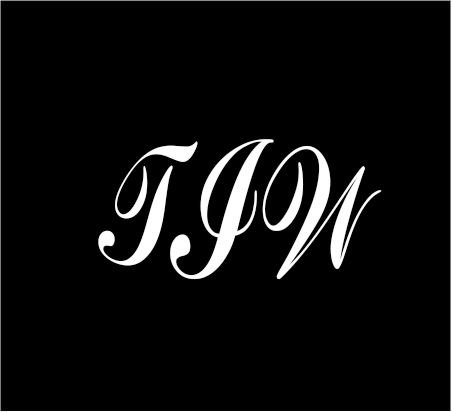 """3"""" white Monogram 3 letters TIW initials script style vinyl decal great size for cups or use on any smooth surface"""