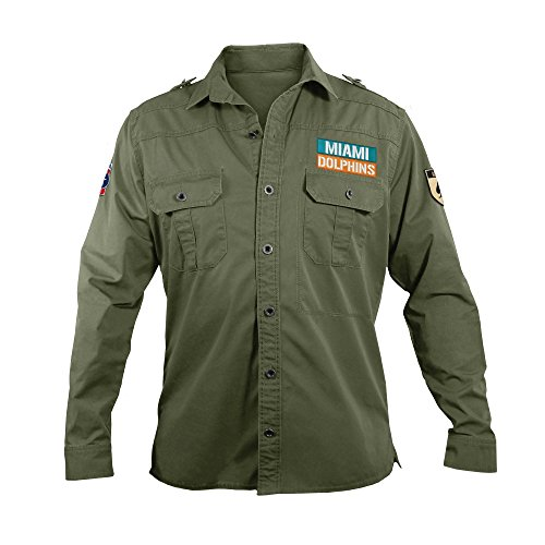 NFL Miami Dolphins Men's Military Field Shirt, Large by Littlearth