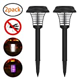 2PC Solar Powered LED Light Bug Zapper Mosquito Insect Pest Killer Lamp Suit for Indoor Outdoor Home Garden Porch Patio Backyard