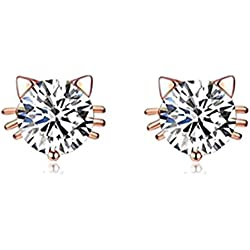 Birthday Gift 18k Gold Plated Austrian Swarovski Crystal Zircon Mini Cute Cat Stud Earrings E151
