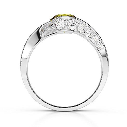 G-H/VS 0,76ct Coupe ronde sertie de diamants Saphir Jaune et bague de fiançailles en platine 950Agdr-1209