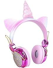 FSDELIV FSDELIVBarnhörlurar Bluetooth, huvudmonterade hörlurar-katt-öra med LED-ljus-mikrofon-karikatyr-headset, öronhörlurar för spel reseskola födelsedagspresent