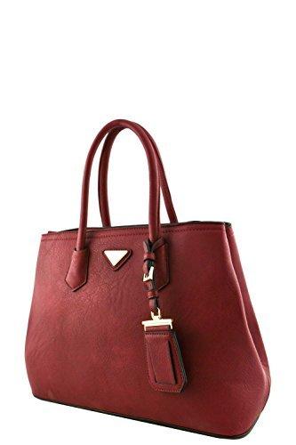 (Women's Designer Faux Leather Rear Zipper Pocket Top Handle Bag VA2003 Wine)